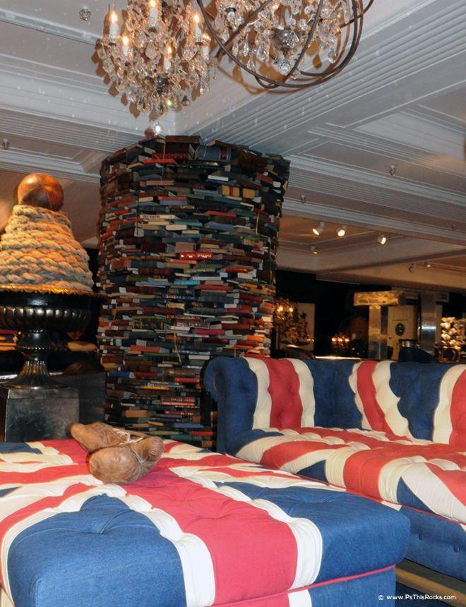 pillar of book in Harrods room
