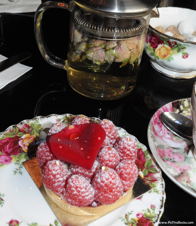 sketch rose tea with raspberry pastry