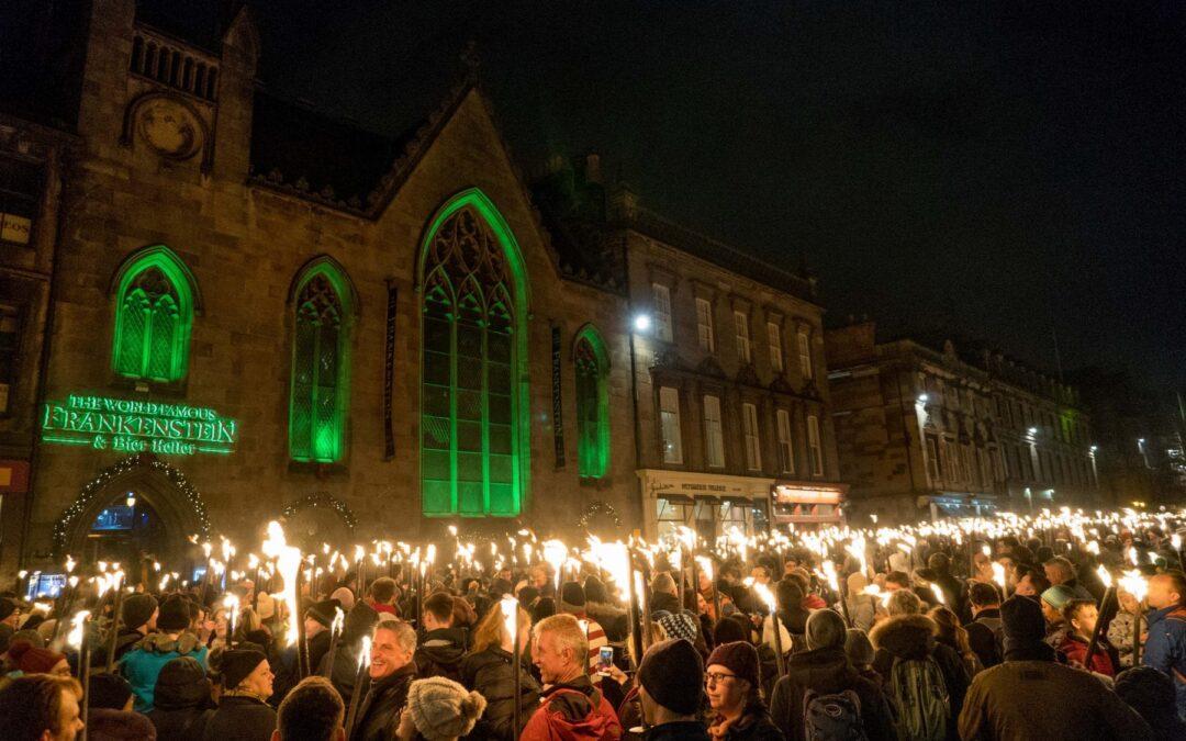 Edinburgh Scotland is on fire for New Year's Eve Hogmanay Festivities