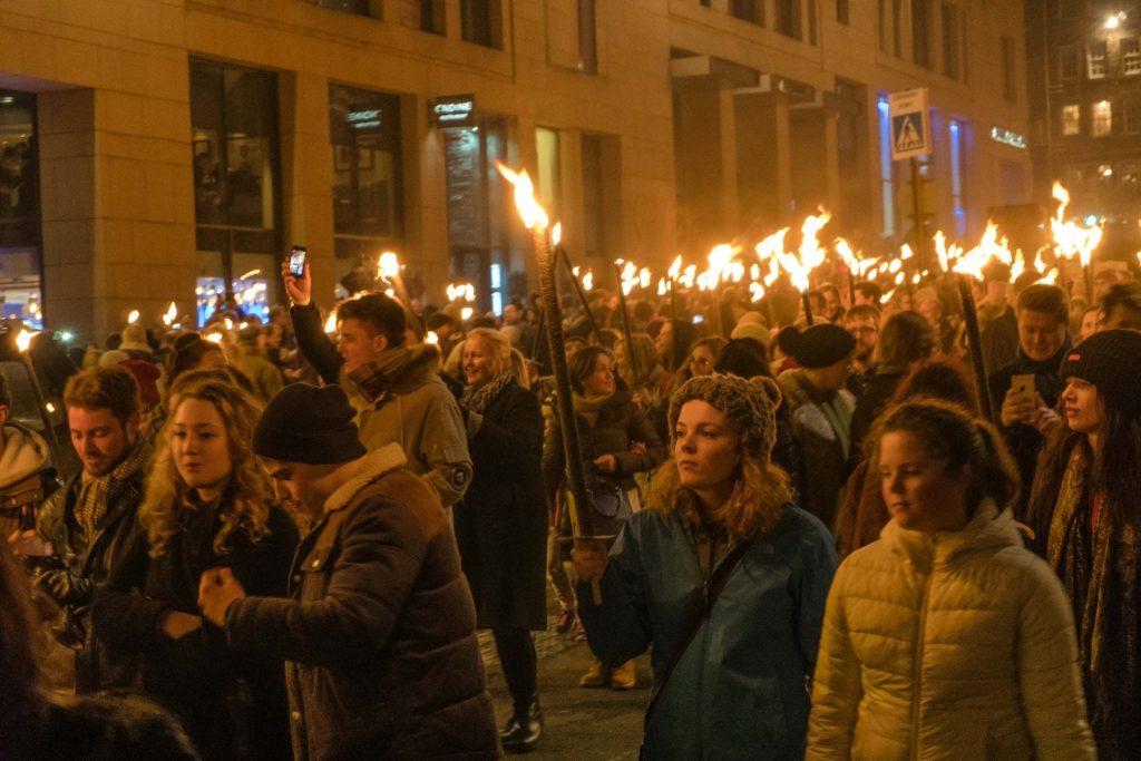 Hogmanay procession of torches scotla, Edinburgh Scotland On Fire for New Year's Eve Hogmanay Festivities